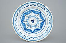 A blue and white Brussels faience plate ca.1800, Dia.: 32 cm