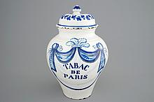A blue and white tobacco jar and cover 'Tabac de Paris' late 18th C., H.: