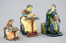 Two Flemish pottery lacemakers and a market lady 1st half 20th C., H.: 21