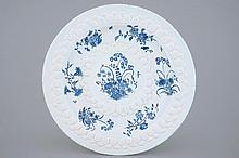 A large French faience floral chinoiserie dish prob. Marseille 17th C., Dia