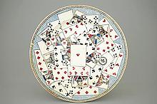 A French faience dish with playing cards ca. 1800 Ferriere-la-Petite, Dia.: