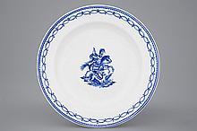 A Tournai porcelain plate with Saint-Georges fighting the dragon late 18th