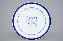 A Tournai porcelain plate with the arms of St.-Sebastian's Archers Guild in