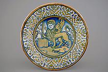A polychrome dish with the Lion of Saint Mark, Deruta, ca. 1540, Dia.: 41 c