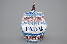 A blue and manganese lidded tobacco jar Makkum Friesland ca. 1800, H.: 23