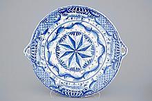 A big blue and white fish strainer Bolsward Friesland 18th C., Dia.: 46,5