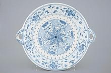A big blue and white fish strainer Harlingen Friesland 18th C., Dia.: 45