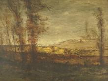 VAN DE KERKHOVE FRITZ (BELGIUM, 1862-1873), A LANDSCAPE WITH TREES, OIL ON PANEL