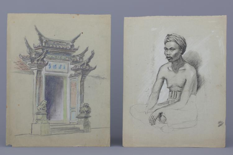 Jan van Aken, (1905-), six pencil drawings, portraits of Bali, Indonesia