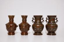 Two pairs of Japanese bronze and champlevé vases, Meiji, 19th C.