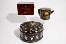 Two Japanese lacquer and mother of pearl boxes and a teapot, Meiji, 19/20th C.