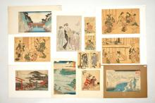 A collection of thirteen Japanese woodblock prints