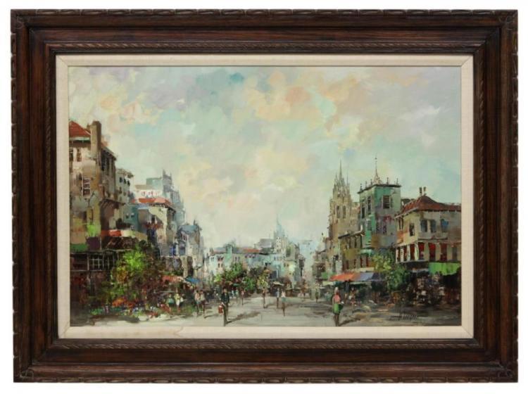 Signed Oil On Canvas, European Street Scene