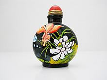 Hand Painted Chinese Black Glass Snuff Bottle