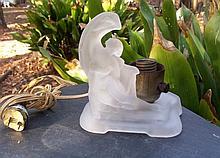 VINTAGE Art Nouveau Nude Woman Frosted Glass Lamp
