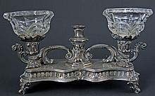 ANTIQUE FRENCH SOLID SILVER INKWELL INK STAND