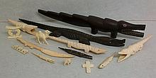 A Quantity of African Ivory Bone and Wood Carvings