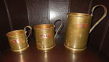 Trench Art Set of 3 Copper & Brass Tankards