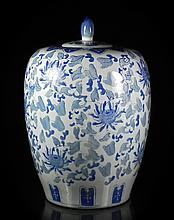 Large Chinese Blue, White Covered Jar
