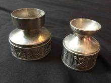Pair of Norwegian Pewter Viking Candlesticks