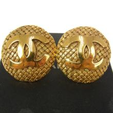 Authentic CHANEL Paris Gold Tone Clip On Earrings