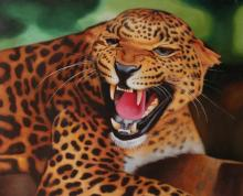 African Leopard Oil on Canvas Painting