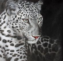 Snow Leopard, Signed Oil on Canvas Painting