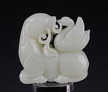 He Tian White Jade Carved Dragon Amulet