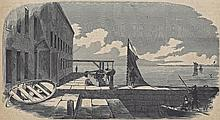 Antique PRINT scene The Gorge of Fort Sumter