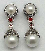 Antique-Style Rose Cut Diamond, Pearl Earrings