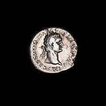 Ancient silver Roman denarius of Emperor Domitian