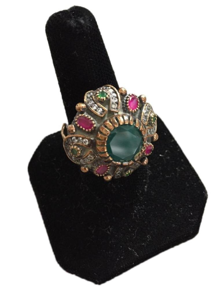 Emerald ruby turkish statement ring for Jewelry stores bluffton sc