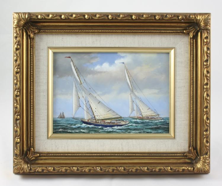 Framed Oil On Board Painting, Racing Yachts