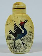 Ox Bone Hand Engraved Bird & Flower Snuff Bottle
