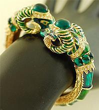 Vintage Ramshead Gold, Enamel, Rhinestone Bracelet