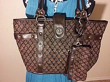 Giani Bernini Large Brown Tote Shoulder Bag Purse
