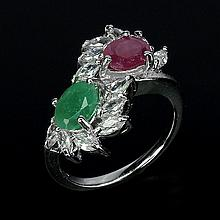 Natural Ruby and Emerald Ring