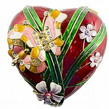 Floral Heart & Butterfly Jewelry Box