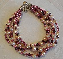 Vintage Silver 5-Strand Pearl, Garnet Bracelet