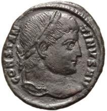 Constantine, Bronze Follis Coin ( 326 AD )