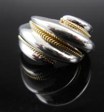 Tiffany & Co. Sterling Silver, Gold Braided Ring
