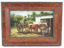 Student of W.A. Walker, Slave with Oxen Painting