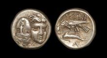 Scarce Ancient Greek Eagle & Dolphin Drachm Coin