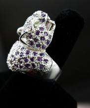 Amethyst & Peridot Sterling Silver Jaguar Ring