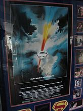 FRAMED SUPERMAN SIGNED MOVIE POSTER ITH PICTURES O