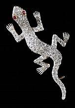 Vintage Diamond Salamander Brooch
