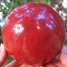 Huge Red Smelted Quartz Sphere