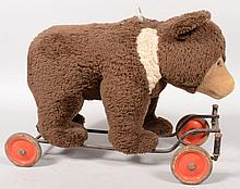 Plush Ride able Toy Brown Bear on Wheels