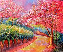 Landscape Scene, Oil on Board