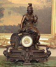 Magnificent Bronze Britannia Goddess Mantel Clock